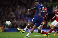Kenedy of Chelsea takes a shot at goal. Carabao Cup 3rd round match, Chelsea v Nottingham Forest at Stamford Bridge in London on Wednesday 20th September 2017.<br /> pic by Steffan Bowen, Andrew Orchard sports photography.