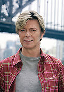 David Bowie at his Reality Tour press conference, Sydney, Australia. David poses for publicity photos with the Sydney Harbour Bridge in the background.This was the last time David visited Sydney.