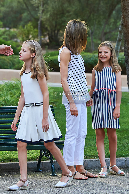 Crown Princess Leonor, Queen Letizia of Spain, Princess Sofia pose for the photographers at the Marivent Palace on August 4, 2016 in Palma de Mallorca, Spain.