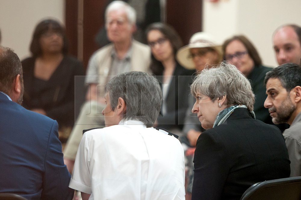 © Licensed to London News Pictures. 19/06/2017. British prime minister THERESA MAY and MET commissioner CRESSIDA DICK are seem meeting with community leaders at Finsbury Park mosque after a van was used to run down members of the muslim community as they finished taraweeh, Ramadan evening prayers. Photo credit: Guilhem Baker/LNP