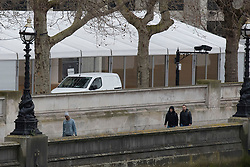 © Licensed to London News Pictures. 19/03/2020. London, UK. A marquee is erected next to St Thomas' Hospital  . Authorities are seeking to increase hospital capacity during the Coronavirus crisis. Photo credit: George Cracknell Wright/LNP
