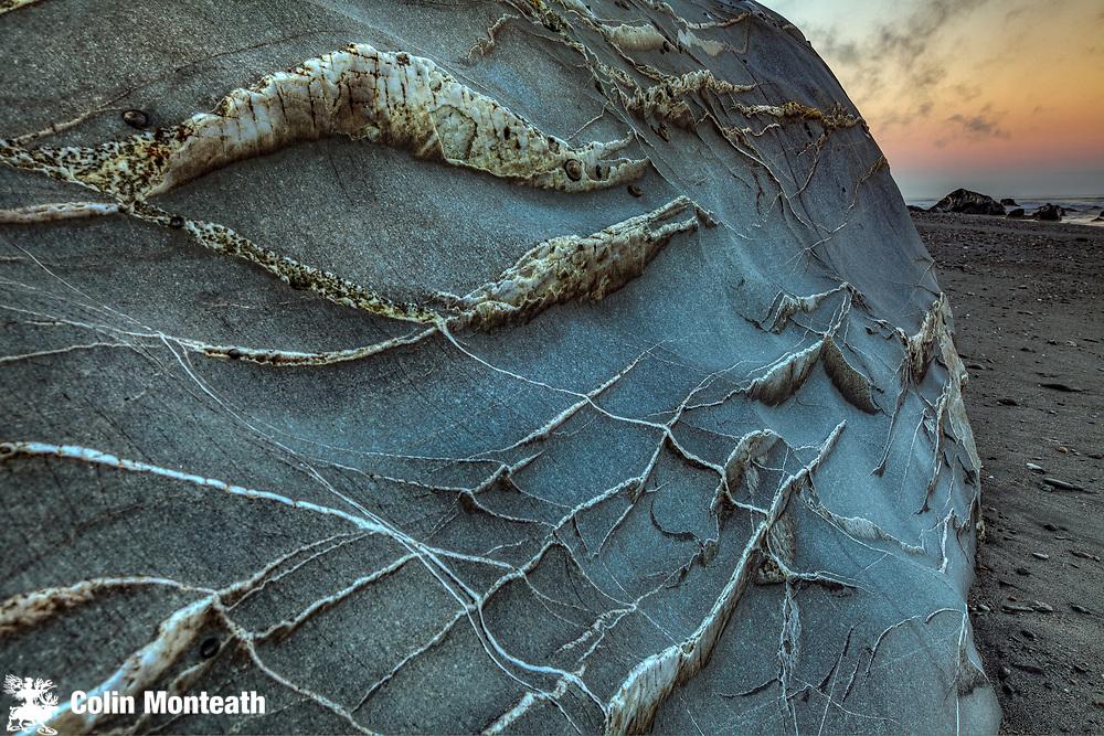 Quartz veins on beach rock, Hari Hari beach, West Coast