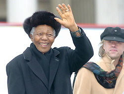 FILE - Nelson Mandela has been admitted to hospital, the Presidency of South Africa announced Saturday. The Presidency said in a statement that doctors advised proper specialist medical attention due to him having long standing abdominal complaint. PHOTO: Feb. 3, 2005. South African former president NELSON MANDELA waves to audience of his speech on Trafagar Square in London. Sir BOB GELDOF pictured right. (Credit Image: © Cheng Min/Xinhua/ZUMAPRESS.com)
