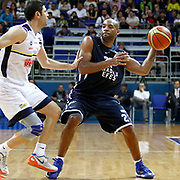 Anadolu Efes's Alfred Jamon Lucas (R) during their Turkish Basketball league derby match Fenerbahce Ulker between Anadolu Efes at the Ulker Sports Arena in Istanbul, Turkey, Monday, April 29, 2013. Photo by Aykut AKICI/TURKPIX