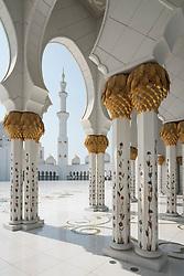 Exterior of Sheikh Zayed Grand Mosque in Abu Dhabi, United Arab Emirates, UAE