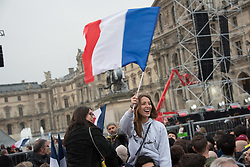 Scenes of joy in the streets of Paris after the victory of Emmanuel Macron, the candidate of the movement 'En Marche!' (EM) in the second round of the French presidential election, in Paris, France on May the 7, 2017. Photo by Samuel Boivin/ABACAPRESS.COM
