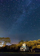 Night skies with the Milky Way with a VW Euorvan Camper at Pacific Beach Washington on the Olympic Peninsula on Wednesday, Aug. 5, 2015. (Photo/John Froschauer)