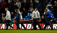 Photo: Jed Wee.<br /> Manchester City v Tottenham Hotspur. The Barclays Premiership. 04/01/2006.<br /> <br /> Tottenham's Lee Young-Pyo is stretchered off the pitch.