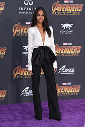 """World premiere of """"Avengers: Infinity War"""" held at the El Capitan Theatre on April 23, 2018 in Hollywood, CA. © O'Connor/AFF-USA.com. 23 Apr 2018 Pictured: Zoe Saldana. Photo credit: O'Connor/AFF-USA.com / MEGA TheMegaAgency.com +1 888 505 6342"""