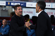 Luis Enrique greet Simeone during the La Liga match between Barcelona and Atletico Madrid at Camp Nou, Barcelona, Spain on 21 September 2016. Photo by Eric Alonso.