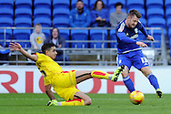 Cardiff City's Anthony Pilkington (r) has his shot at goal blocked by Rotherham's Aimen Belaid.  Skybet football league championship match, Cardiff city v Rotherham Utd at the Cardiff city stadium in Cardiff, South Wales on Saturday 23rd January 2016.<br /> pic by Carl Robertson, Andrew Orchard sports photography.