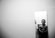 May 14, 2009-Denver, Colorado, USA-Micro Wrestling Federation wrestler Jmazing prepares for his matches backstage before the show at 3 Kings Tavern. (Credit Image: Bret Hartman/Zuma Press)