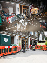 © Licensed to London News Pictures. 11/05/2016. Glenridding UK. FIVE MONTH COMPARISON OF FLOODED VILLAGE OF GLENRIDDING. Top picture taken 10/12/2015 shows the Catstycam outdoor shop in Gelnridding that was flooded during storm Desmond in December. Bottom picture taken 10/05/2016 shows the now re-opened Catstcam outdoor shop five months after storm Desmond. The diggers are still in the village of Glenridding five months after storm Desmond hit the area & flooded the village three times last December. Residents of the village have become frustrated at the Environment Agency after it took almost four months for the agency to start work on new flood defences leaving the village looking like a building site during the normally busy tourist period essential to get the area back on it's feet. Photo credit: Andrew McCaren/LNP