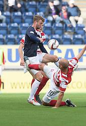 Falkirk's Rory Loy and Hamilton's Alex Neil.<br /> half time : Falkirk 0 v  0 Hamilton, Scottish Championship 31/8/2013.<br /> ©Michael Schofield.