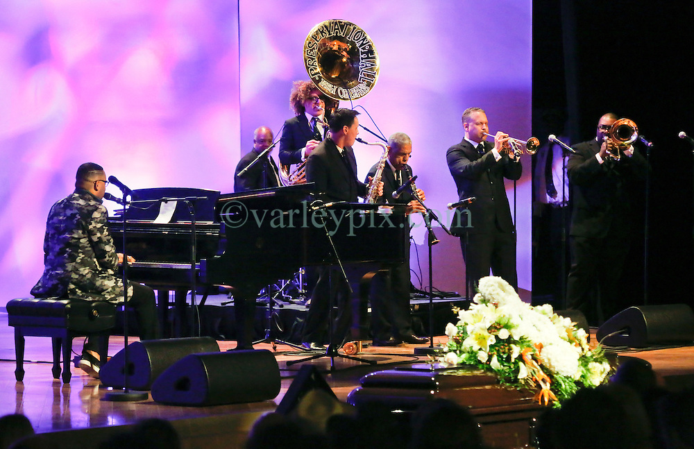20 November 2015. Orpheum Theater, New Orleans, Louisiana. <br /> Memorial service for musician Allen Toussaint. <br /> Davelle Crawford performs with the Preservation Hall Jazz Band.<br /> Photo; Charlie Varley/varleypix.com
