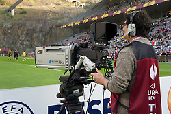 BRAGA, PORTUGAL, Thursday, March 10, 2011: A television camera operator during the UEFA Europa League Round of 16 1st leg match between Sporting Clube de Braga and Liverpool at the Estadio Municipal de Braga. (Photo by David Rawcliffe/Propaganda)