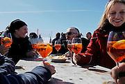 """Italy, Madonna di Campiglio, aperitivo with """"sprizz""""  outside Chale fiat"""