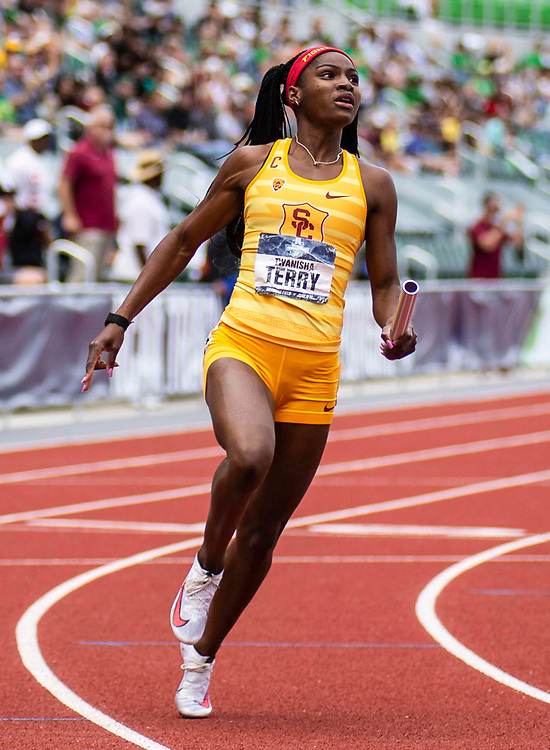 June 12, 2021 Eugene, OR  U.S.A. USC anchored by Twanisha Terry wins the 4x100m relay during the NCAA division 1 men and womens track and field outdoor championship at Hayward Field Eugene, OR. Thurman James / CSM