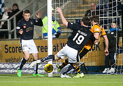 Alloa Athletic's Graeme Holmes defends from Falkirk's John Baird and Falkirk's Bob McHugh. <br /> Falkirk 5 v 0 Alloa Athletic, Scottish Championship game played at The Falkirk Stadium. © Ross Schofield