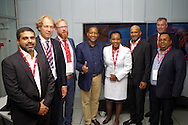 DURBAN - 2 September 2016 - Officials from South Africa's Transnet National Ports Authority (TNPA) and the Dutch firm Royal IHC at the unveiling of a R29 million dredging simulator in Durban. The simulator will be used at a Dredging School that is set to open in Durban in January 2017. The simulator was installed by Royal IHC. From left is TNPA's engineering manager Muhammad Khan, the Royal IHC project manager Philip van den Broek, Royal IHC's manager of supplier development Bert-Jan de Keijzer, TNPA's chief executive of port terminals Karl Socikwa, TNPA's chief human resources officer Nonkululeko Sishi, TNPA chief executive Richard Vallihu, Royal IHC's systems sales manager Riny Mourik and TNPA's head of dredging services carl Gabriel.     Picture: Giordano Stolley