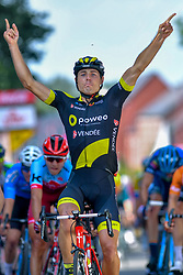 July 28, 2018 - Les Bons Villers, BELGIUM - French Romain Cardis of Direct Energie celebrates as he crosses the finish line to win the first stage of the Tour De Wallonie cycling race, 193,4 km from La Louviere to Les Bons Villers, on Saturday 28 July 2018. BELGA PHOTO LUC CLAESSEN (Credit Image: © Luc Claessen/Belga via ZUMA Press)