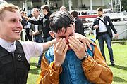 Pferdesport: 148. Deutsches Galopp Derby, Hamburg, 02.07.2014<br /> Jubel von Sieger Maxim Pecheur auf Windstoß<br /> © Torsten Helmke
