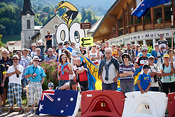 Fans line the route at La Course by Le Tour de France 2018, a 112.5 km road race from Annecy to Le Grand Bornand, France on July 17, 2018. Photo by Sean Robinson/velofocus.com