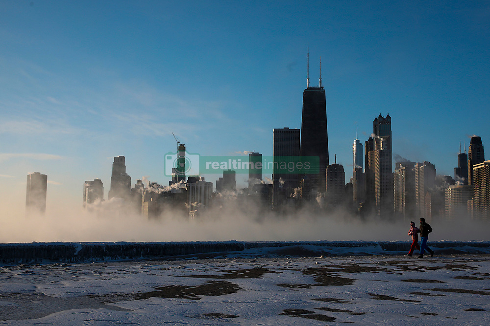 The Chicago skyline seen from North Avenue beach as the sunrises on a cold and chilly Wednesday morning, January 30, 2019. Photo by Jose M. Osorio/Chicago Tribune/TNS/ABACAPRESS.COM