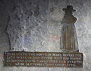 Brass figure of sixteenth century woman who had ten children, All Saints and St Margaret's church, Chattisham