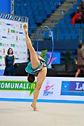 Halkina Katsiaryna during final at hoop in Pesaro World Cup 12 April 2015. Katsiaryna is a Belarusian rhythmic gymnastics athlete born February 25, 1997 in Minks, Belarus.