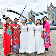 """Chinese Soprano 王蓓蓓,Wang Beibei sings 我和我的祖国,Me and my country to celebration of the 70th China National Day 2019 and a Chinese """"Qipao"""" flash mob, London, 28 September 2019, UK."""