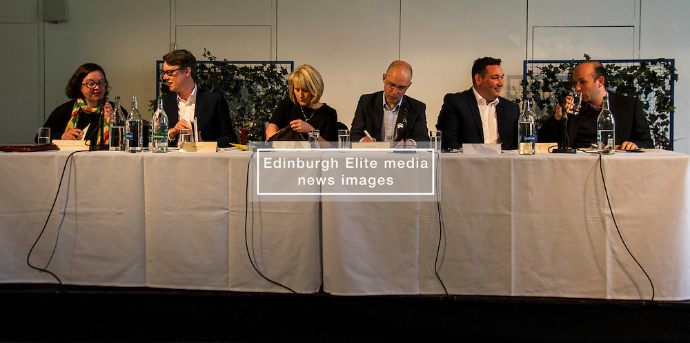 Pictured: Juliet Swann (Associate Consultant at McNeill and Stone), Martyn McCluskey (Labour),  Mandy Rhodes (Holyrood Editor), Gavin Corbett (Greens), Nules Briggs (Conservative), and Marco Biagi (SNP)<br /> <br /> Political scientists from the Academy of Government at the University of Edinburgh discussed the factors that influenced voters, the direction of Scottish politics, and analysed changes since the 2015 general election. Among the speakers were Dr Jan Eichhorn (University of Edinburgh), Professors Ailsa Henderson and James Mitchell (University of Edinburgh), Professor Roger Scully (University of Cardiff) and Dr Heinz Branbdenburg (Strathclyde University). Politicians joined the group discussion chaired by Mandy Rhodes (Holyrood Editort) with Marco Biagi (SNP), Nules Briggs (Conservative), Gavin Corbett (Greens), Juliet Swann (Associate Consultant at McNeill and Stone) and Martyn McCluskey (Labour) <br /> <br /> Ger Harley | EEm 13 May April 2016
