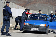 Kosovo, Pristina, Graçanica – Kishnicë<br /> Sunday, March 2, 2008<br /> <br /> <br /> At the entrance of Graçanica township, Kosovo Police Service, Special Police UNIT, (KPS-SPU) has organize a control check point, in which they use to stop every suspiciously vehicle with plates from Serbia.<br /> PICTURED:<br /> A suspicious vehicle with Serbian plates, stoped from KPS-SPU at the entrance of Graçanica township<br /> <br /> VEDAT xhymshiti/ZUMApress photojournalist