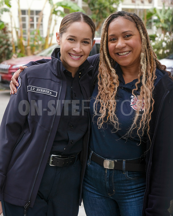 """STATION 19 - """"Get Up, Stand Up"""" – In the wake of national outcry after the tragic murder of an unarmed Black man, Maya brings in Dr. Diane Lewis to grief counsel the team on a new episode of """"Station 19,"""" THURSDAY, APRIL 22 (8:00-9:00 p.m. EDT), on ABC. (ABC/Ron Batzdorff)<br /> JAINA LEE ORTIZ, TRACIE THOMS"""
