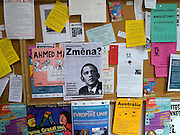 """Change ?"" - Pinnwand an der Philosophischen Fakultaet der Prager Karlsuniversitaet am Jan Palch Platz im Zentrum von Prag. <br /> <br /> ""Change ?"" notice board at the philosophical faculty as part of Charles University located at the Jan Palach square in the center of Prague."