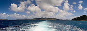 Panoramic view from the back of a ferry leaving Cruz Bay, St. John, US Virgin Islands