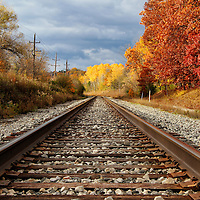 """""""Westward Towards Gold""""<br /> <br /> Jump on these train tracks and head west into the golden fall foliage ahead!<br /> <br /> Autumn Landscapes by Rachel Cohen"""