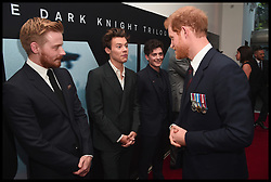 July 13, 2017 - London, London, United Kingdom - Image ©Licensed to i-Images Picture Agency. 13/07/2017. London, United Kingdom. Prince Harry Dunkirk veterans...(L-R) Actors Jack Lowden, Harry Styles and Aneurin Barnard are greeted by Prince Harry at the 'Dunkirk' World Premiere at Odeon Leicester Square on July 13, 2017 in London.Picture by  i-Images / Pool (Credit Image: © i-Images via ZUMA Press)
