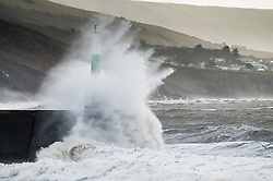 """© Licensed to London News Pictures. 09/02/2014. Aberystwyth, UK. Severe gales, gusting up to 70mph,  continue to batter the west wales coast at Aberystwyth, with a Met Office """"be prepared""""  amber warning still in place.  Photo credit : Keith Morris/LNP"""