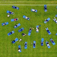 01.07.2019; Rottach-Egern; Fussball Super League; Trainingslager FC Basel; Die Spieler beim Streching - Luftaufnahme (Andy Mueller/freshfocus)