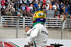 November 10, 2018 - Sao Paulo, Sao Paulo, Brazil - Detail of LEWIS HAMILTON's helmet painting, honoring Brazil and pilot Ayrton Senna, after the qualifying session to the Formula One GP Brazil 2018 at Interlagos circuit, in Sao Paulo, Brazil. The grand prix will be celebrated next Sunday, November 11. (Credit Image: © Paulo LopesZUMA Wire)
