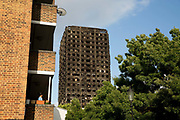 The burnt shell of Grenfell Tower on the 16th June 2017 in North Kensington, London, United Kingdom. The Grenfell Tower fire occurred on 14th June 2017 at the 24-storey block of public housing flats in North Kensington, West London. It caused at least 80 deaths and over 70 injuries, yet the actual numbers have yet to be confirmed