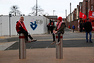 Young fans wait outside the ground before the Premier League match at Anfield, Liverpool. Picture date: 7th March 2020. Picture credit should read: Darren Staples/Sportimage