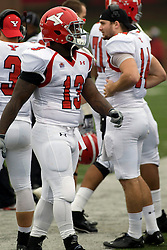 13 October 2012: Adaris Bellamy during an NCAA football game between the Youngstown State Penguins and the Illinois State Redbirds.  The Redbirds won the game by a score of 35-28 at Hancock Stadium in Normal Illinois