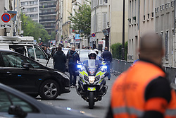 © Licensed to London News Pictures . 07/05/2017 . Paris , France . Scene outside the office of En Marche . The electorate are voting in the final round of the French election . Emmanuel Macron's En Marche and Marine Le Pen's Front National are competing for the Presidency . Photo credit: Joel Goodman/LNP