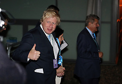 © Licensed to London News Pictures. 08/05/2015. London, UK Boris Johnson arrives at Uxbridge and South Ruislip election count. Photo credit : S. Peters/LNP