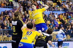 during handball match between RK Celje Pivovarna Lasko and IK Savehof (SWE) in 3rd Round of Group B of EHF Champions League 2012/13 on October 13, 2012 in Arena Zlatorog, Celje, Slovenia. (Photo By Vid Ponikvar / Sportida)