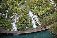 Velike cascade from above, Lower lakes, Plitvice National park, Croatia