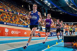 Sven Roosen, Rik Taam, Lauri Hulleman in action on 1000 meters during the Dutch Athletics Championships on 14 February 2021 in Apeldoorn