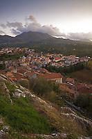 City of Rotonda at dawn, Basilicata, Italy. November 2008. Mission: Pollino National Park